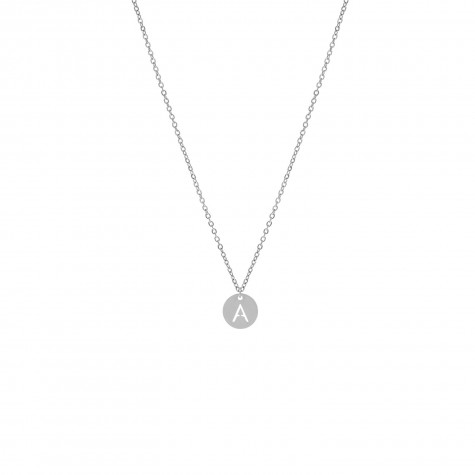 Letter ketting coin zilver