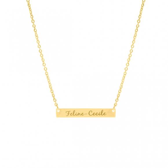 Graveerbare bar ketting met sierletters goud