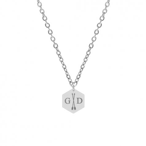 Hanger ketting 2 initialen zilver