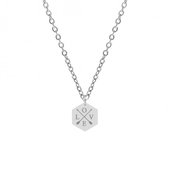 Hanger ketting 4 letters zilver