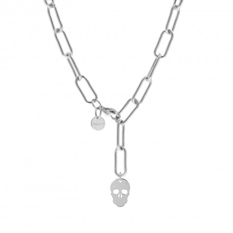Schakelketting met skull zilver