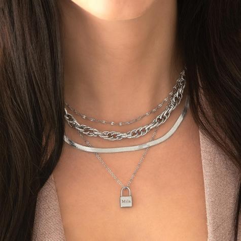 Trendy ketting met schakeltjes zilver