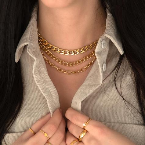Trendy chain ketting in het goud