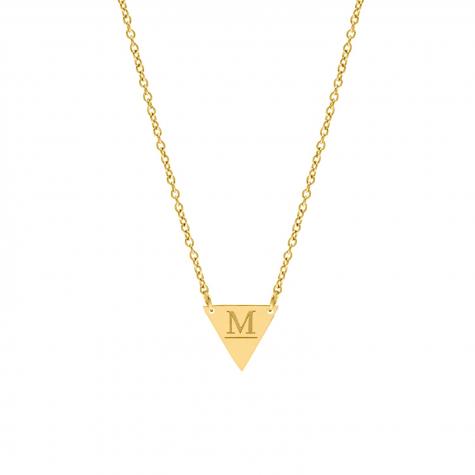 Graveerbare initial ketting driehoek goudkleurig