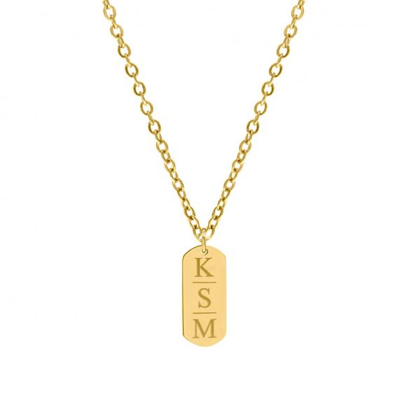 Goud kleurige bar ketting met 3 letters