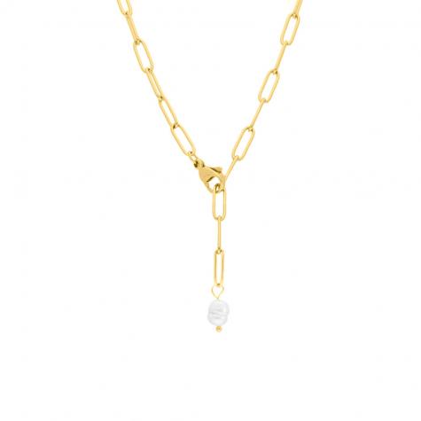 Chunky chain ketting met parel kleur goud