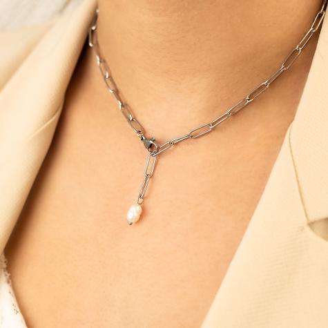 Chunky chain ketting met parel kleur zilver