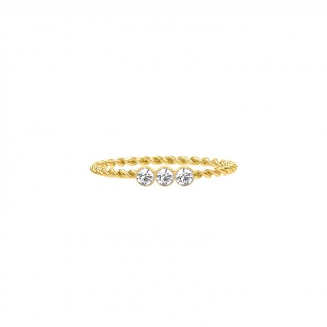 Gedraaide ring met 3 steentjes goud kleurig