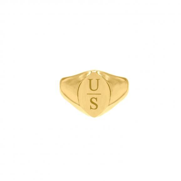 Grote zegelring 2 letters goud kleurig