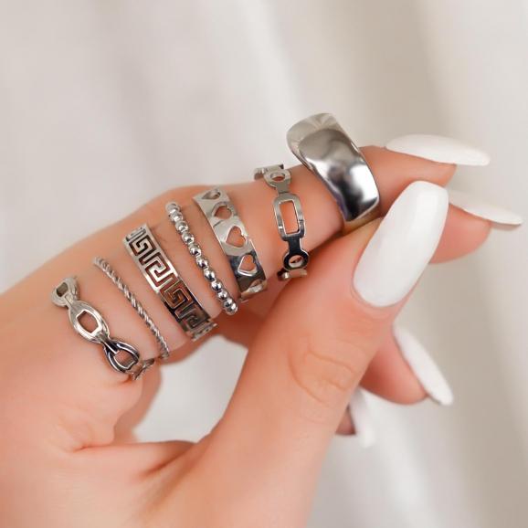 Super leuke mix van zilveren ringen