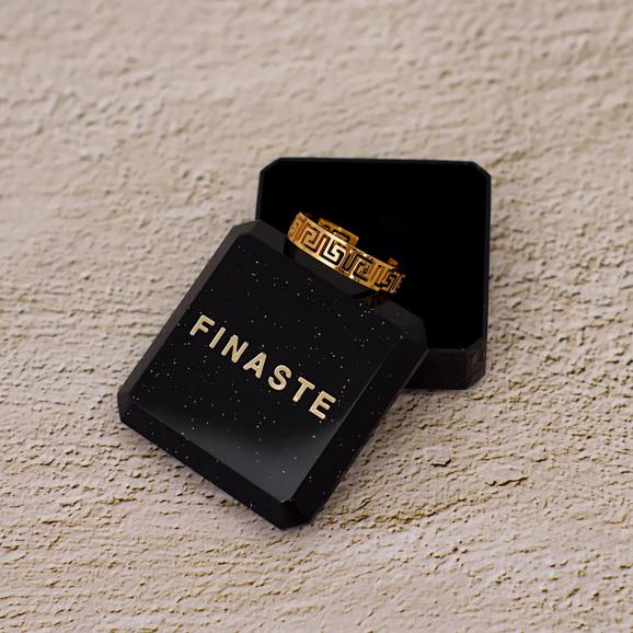 Verstelbare ring met print in het goud