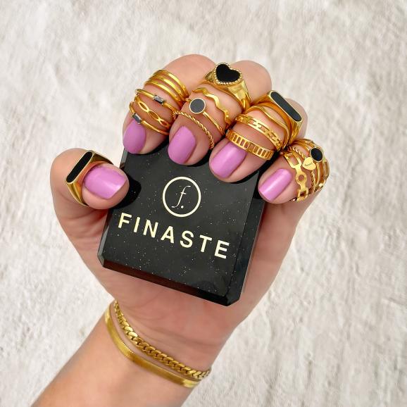 Ring met graveerbaar hartje goud kleurig