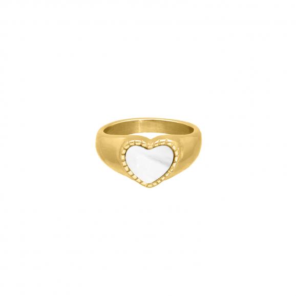 Fashionista ring sea shell goudkleurig