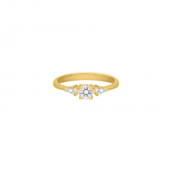 High class stone ring goudkleurig