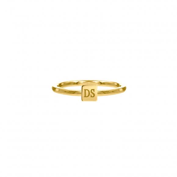 Graveerbare minimalistische ring met vierkantje goud