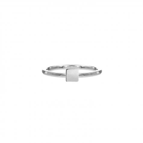 Ring met vierkantje zilver