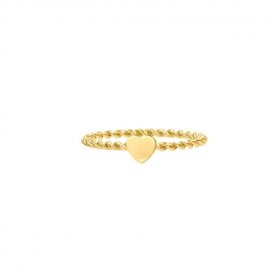 Gedraaide ring met hartje goud