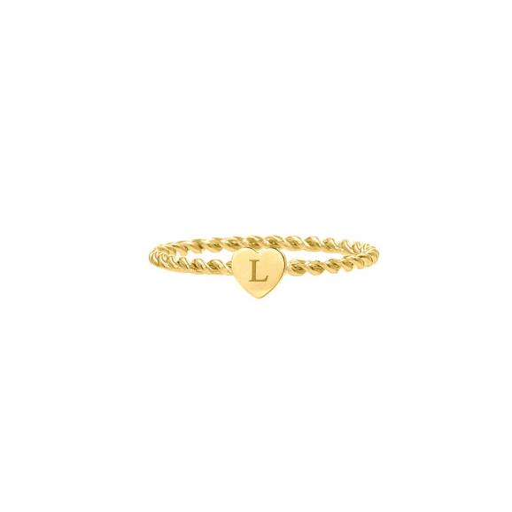 Ring met graveerbaar hartje goud