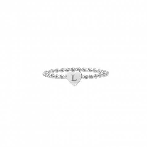 Ring met graveerbaar hartje zilver