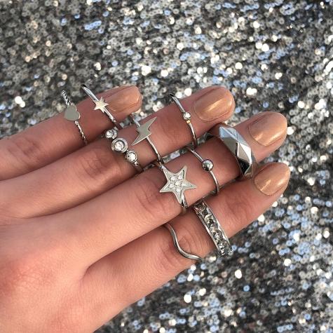 Ring met Ster en Steentjes Zilver