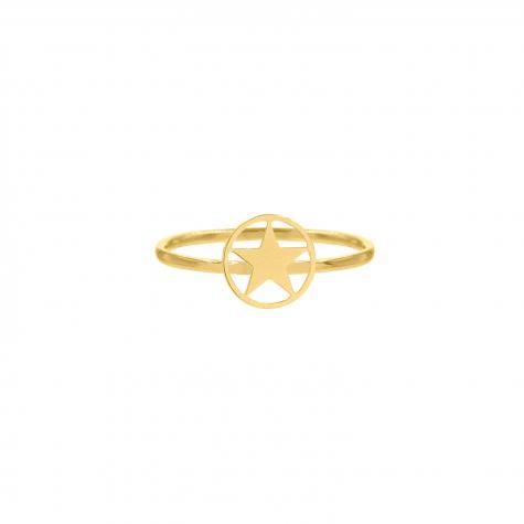 Ring met open ster goudkleurig