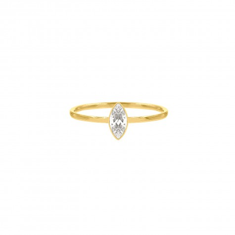 Ring met steentje ovaal gold plated
