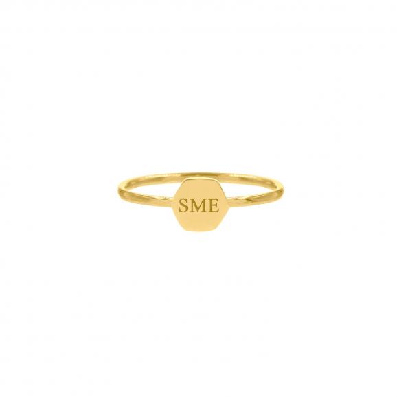 Graveerbare ring hexagon goud kleurig