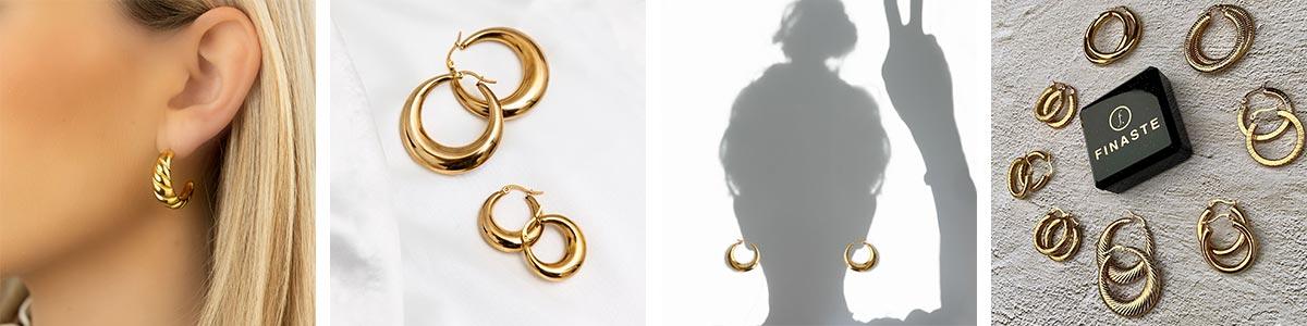 De mooie creolen in het goud en zilver
