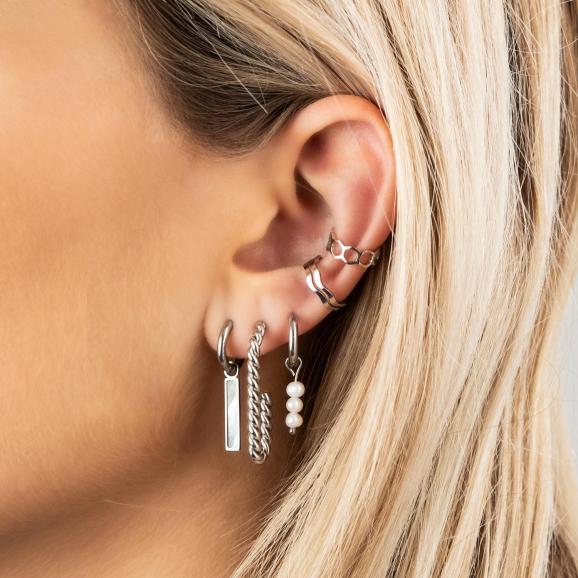 Zilveren earparty met ear cuffs