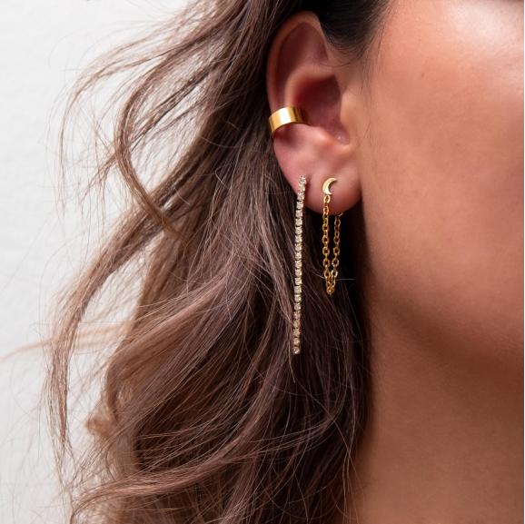 Ketting oorbellen maan kleur goud