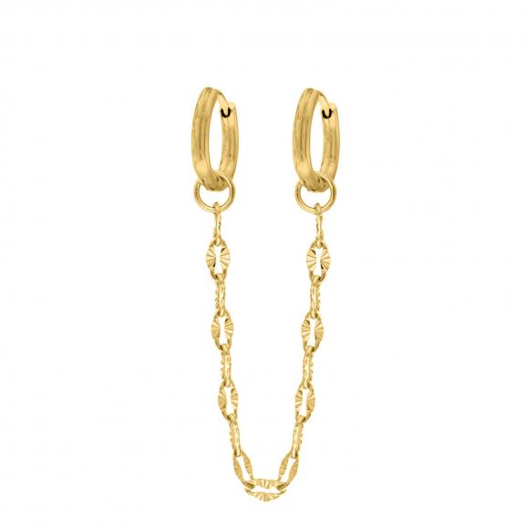 Double hoop chain oorbellen goud kleurig