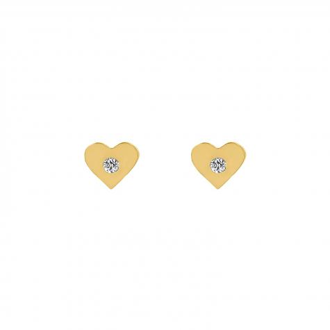 Hartjes stud oorbellen met steentje goud kleurig