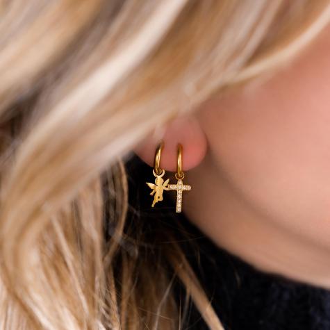 Kruisjes oorbellen steentjes kleur goud