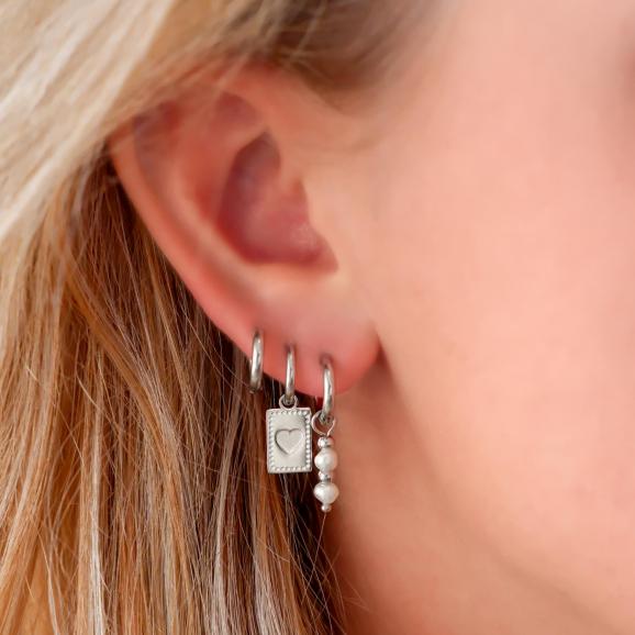 Trendy oorbellen met hanger in het oor