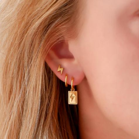 Stud oorbellen bliksem goud