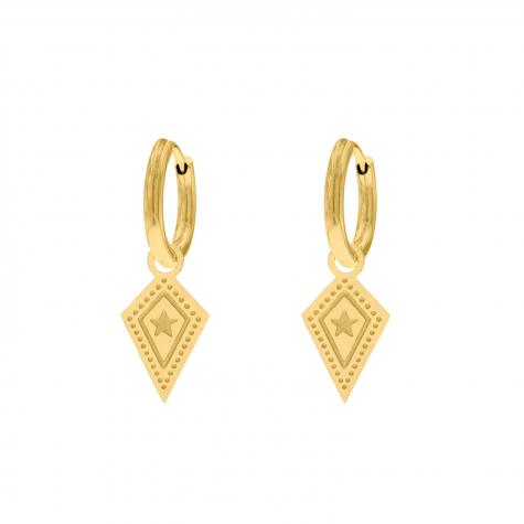 Hanger oorbellen met ster goud kleurig