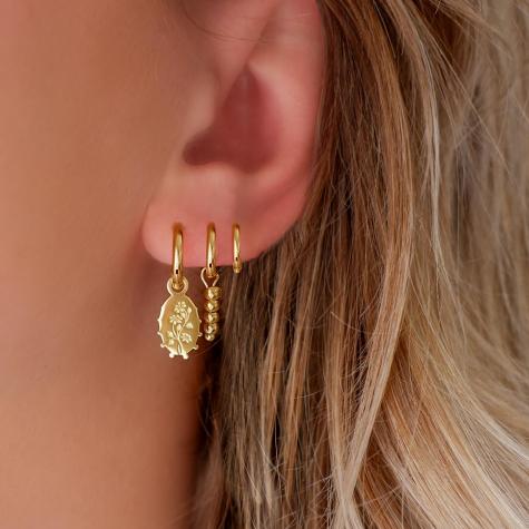 Oorbellen flower charm goud kleurig