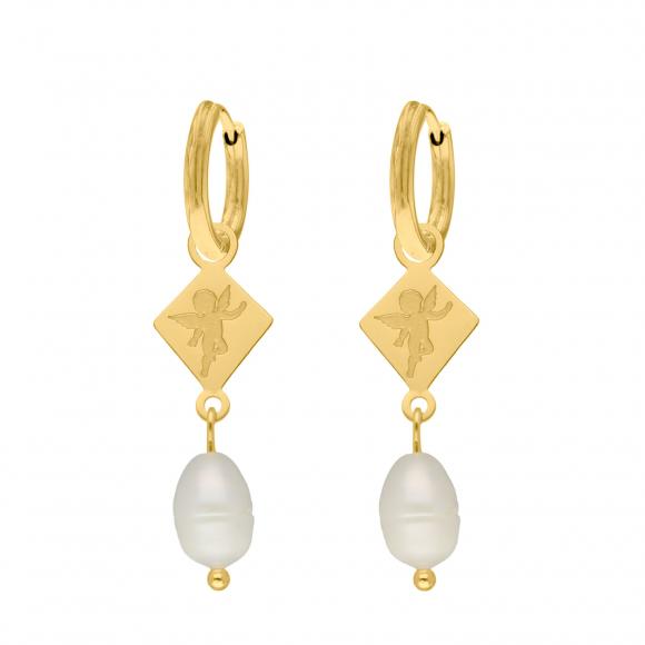 Parel oorbellen met engeltje goud kleurig