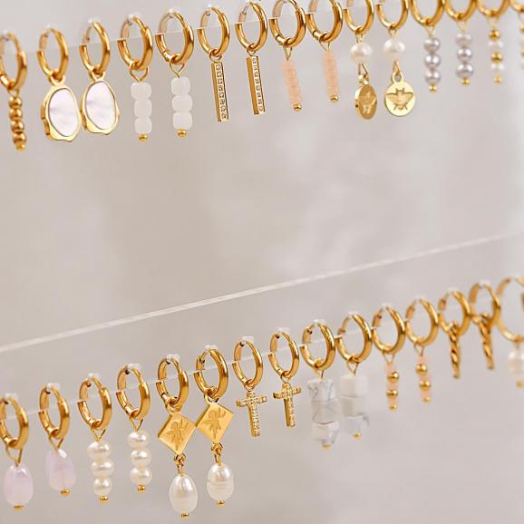 Super trendy oorbellen met hanger in het goud