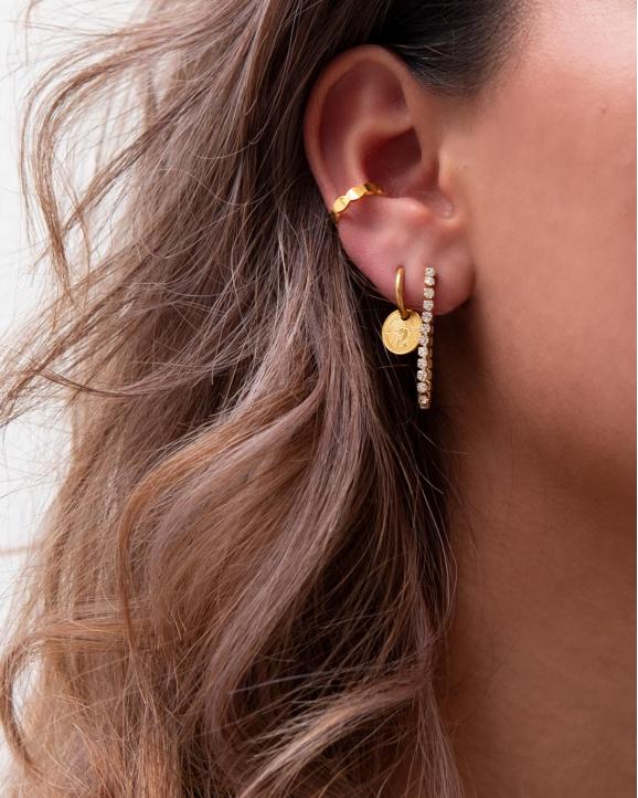 Model met gouden earparty