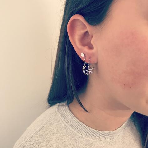 Zilveren vierkante stud oorbellen