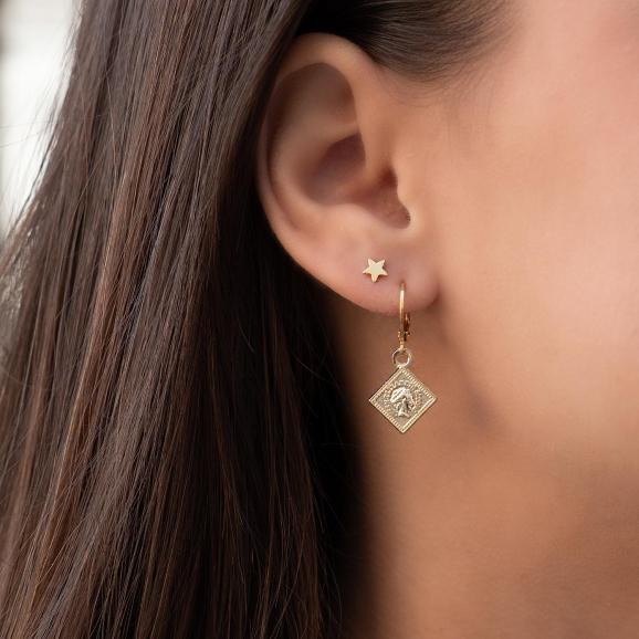Gouden oorringetjes met hangertje en met een ster stud oorbellen