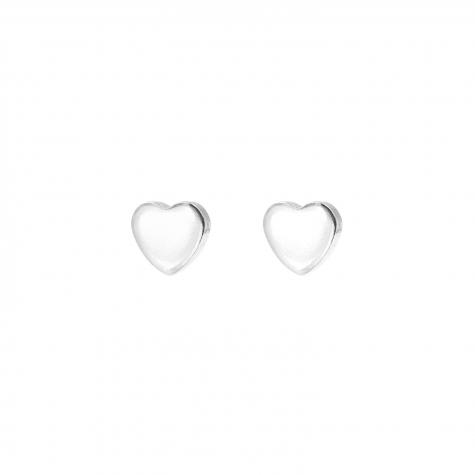 Zilveren stud oorbellen met klein hartje