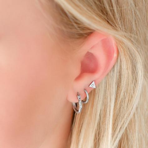 Kleine zilveren oorringetjes met print