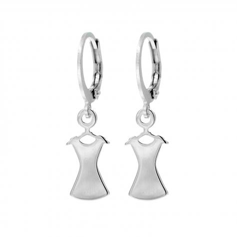Zilveren party oorbellen met jurkje