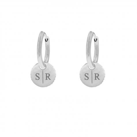 Zilveren gepersonaliseerde oorbellen met twee initialen