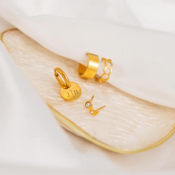 Gepersonaliseerde Oorbellen Twee Initialen Goud kleurig
