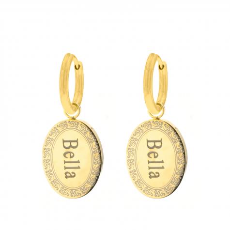 Mandala oorbellen met naam goud