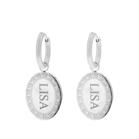 mandala oorbellen met naam zilver