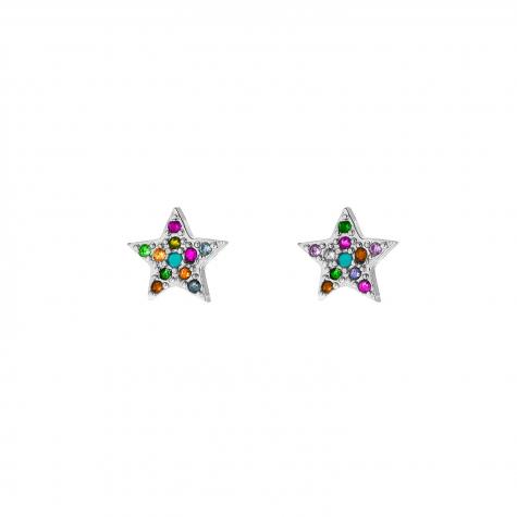 zilveren ster oorbellen met regenboog steentjes